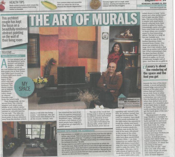 KAF Architects Bangalore Art Of Murals – Bangalore  Mirror